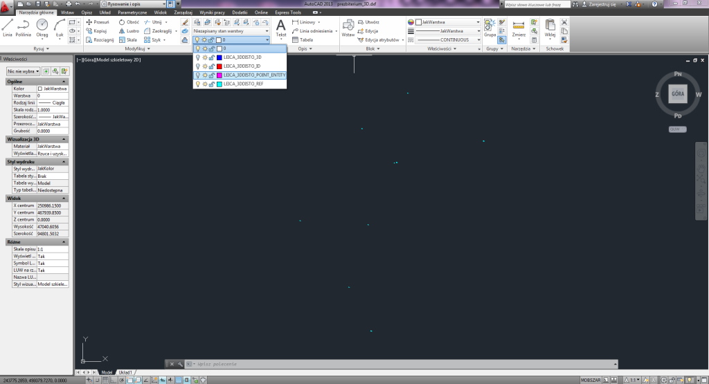 Punkty łączne umieszczone są na oddzielnej warstwie pliku CAD