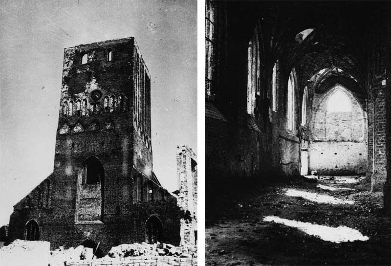 Ruiny kościoła w Sławnie zniszczonego pod koniec II Wojny Światowej
