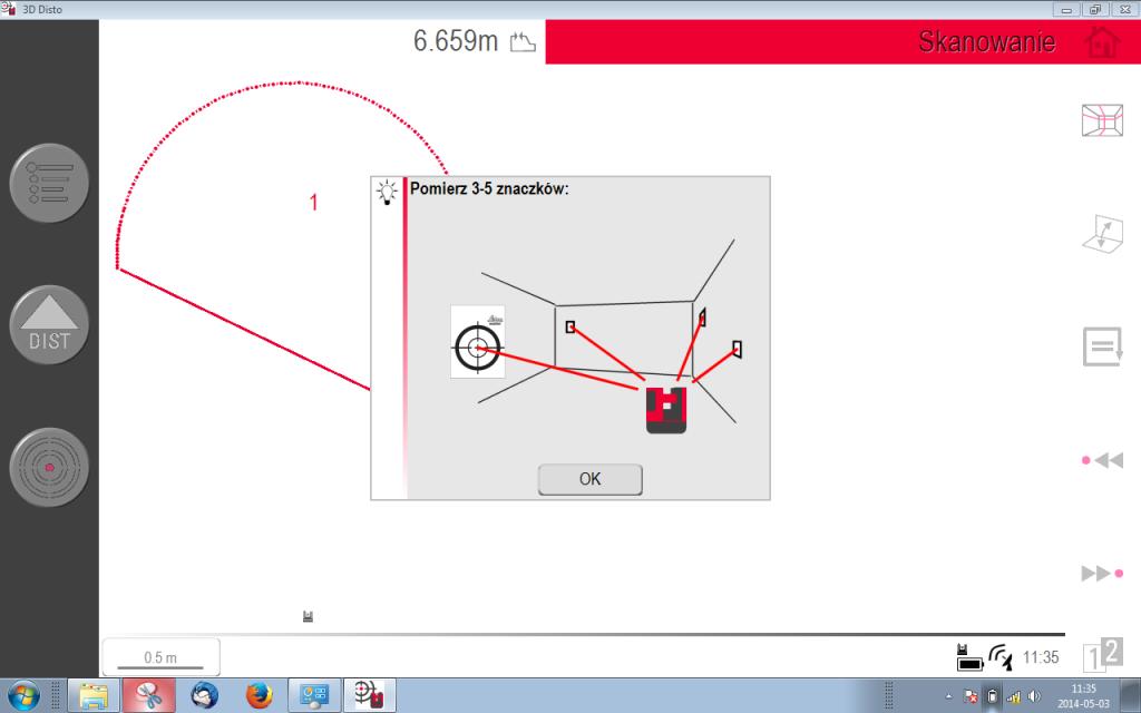 Nawiązanie pomiarów wielostanowiskowych w 3D Disto