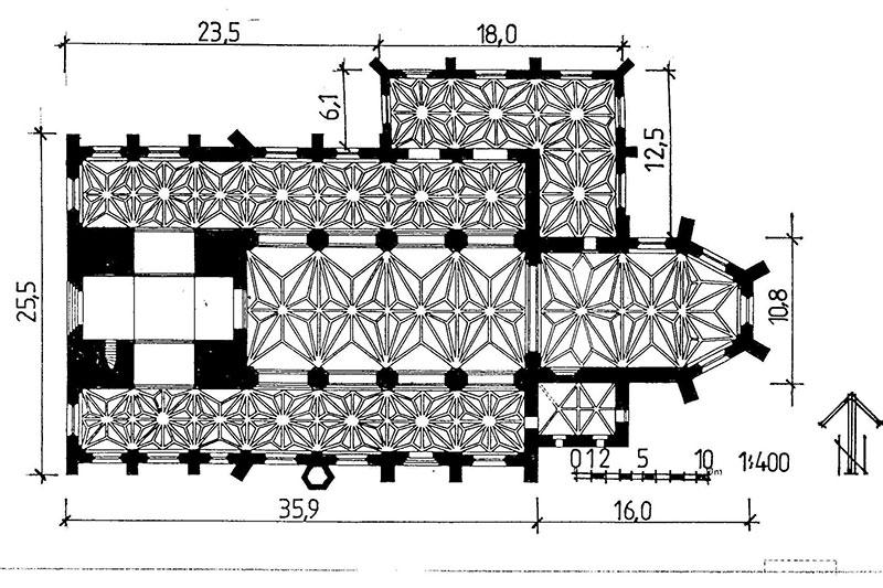 Poglądowy plan kościoła w Sławnie
