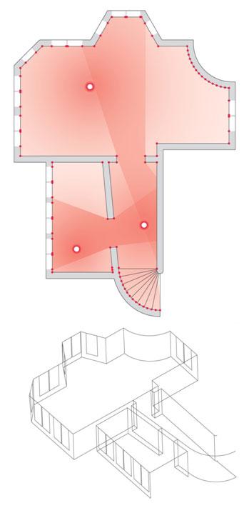Leica 3D Disto pozwala wykonywać pomiary wielostanowiskowe i automatycznie łączyć wyniki w jeden model 3D