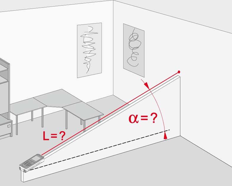 Funkcja automatycznej redukcji zmierzonej odległości skośnej do poziomu na podstawie kąta pionowego zmierzonego za pomocą wbudowanego w dalmierz czujnika nachylenia