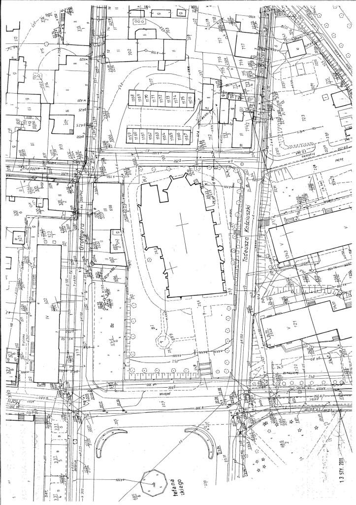 Geodezyjna mapa zasadnicza z usytuowaniem kościoła w terenie
