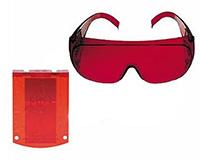 Okulary laserowe i tarcza celownicza służą do wzmocnienia widoczności wiązki laserowej z niwelatora