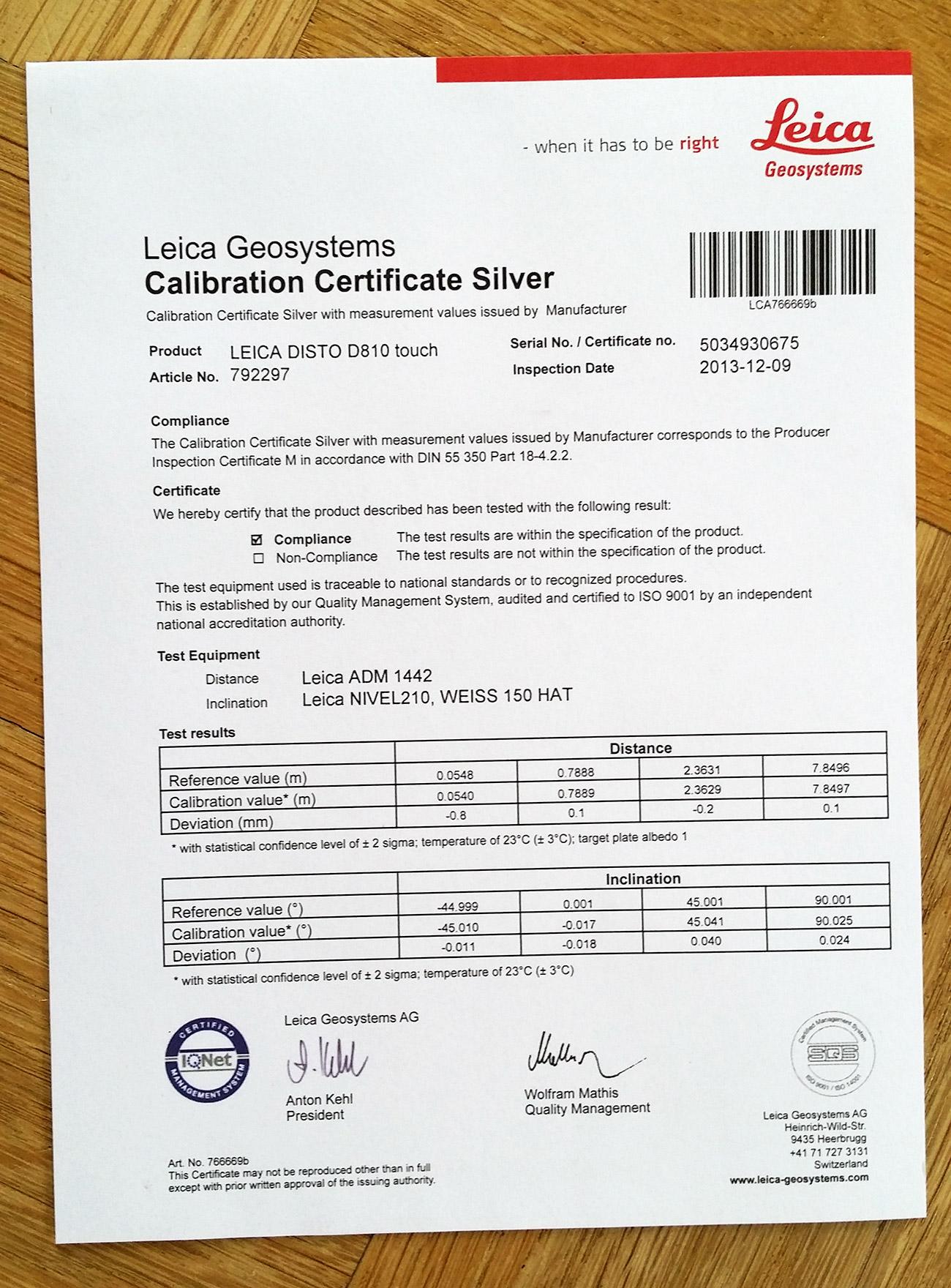 Certyfikat ISO 16331-1 potwierdzający, że dalmierz spełnia normy fabryczne w zakresie zasięgu i dokładności
