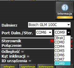 Konfiguracja portów komunikacyjnych do współpracy z dalmierzem Bosch GLM 100 C Bluetooth