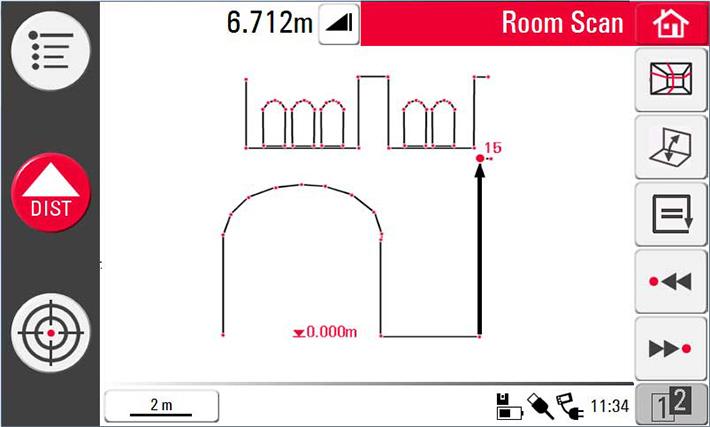 Wynik pomiaru dalmierzem 3D Disto wyświetlany na ekranie kontrolera