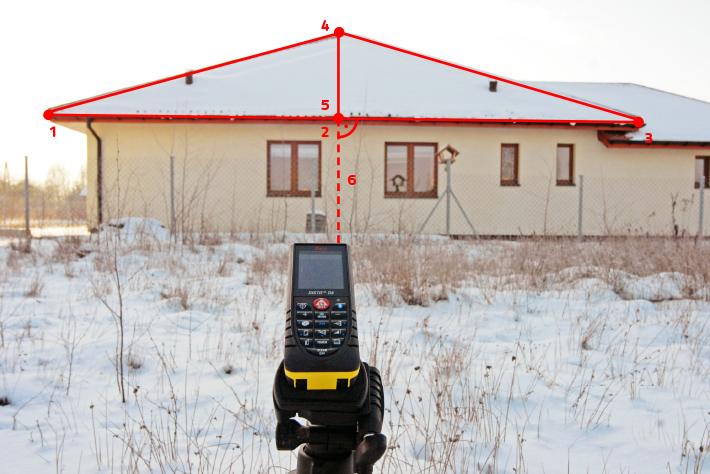 Pomiar dachu dalmierzem laserowym Disto D8