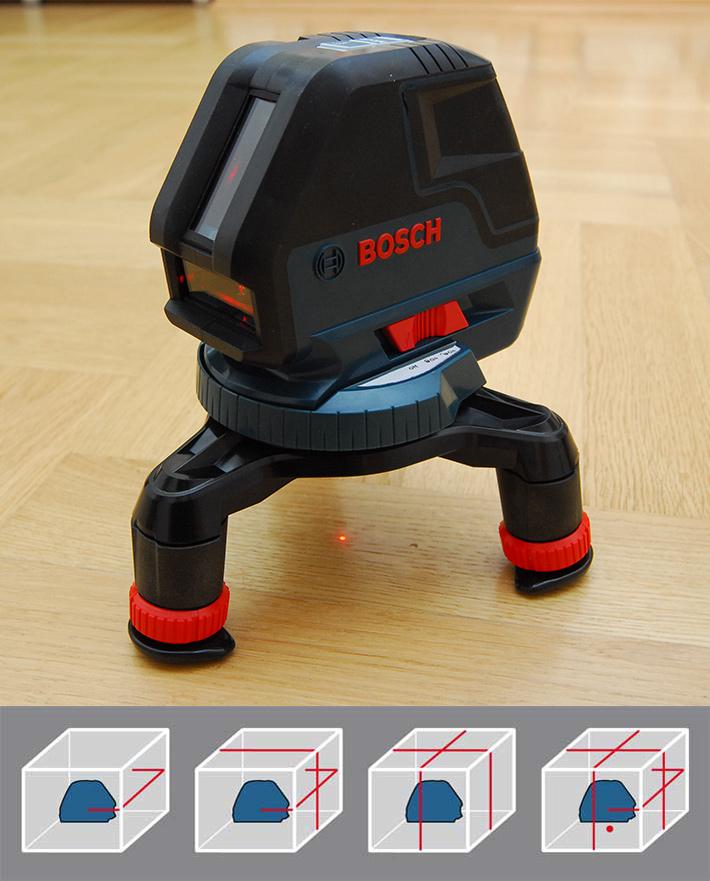 Trzy linie i punkt wyświetlane przez laser liniowy Bosch GLL 3-50