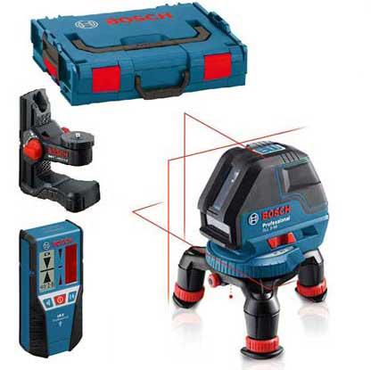 Najbogatsza konfiguracja lasera krzyżowego Bosch GLL 3-50 z odbiornikiem i uchwytem ściennym w walizce L-Boxx
