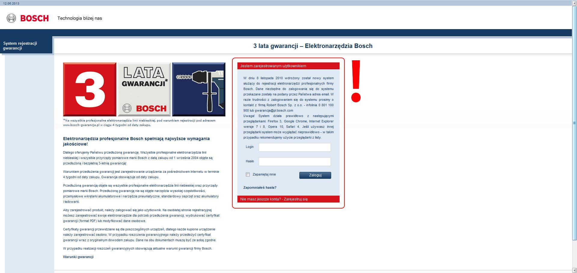 Przedłużona gwarancja Bosch