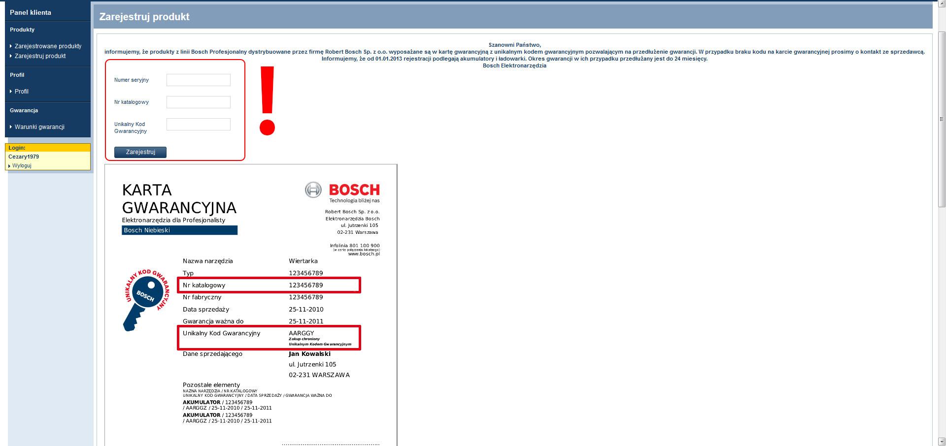 Gwarancja 3 lata Bosch