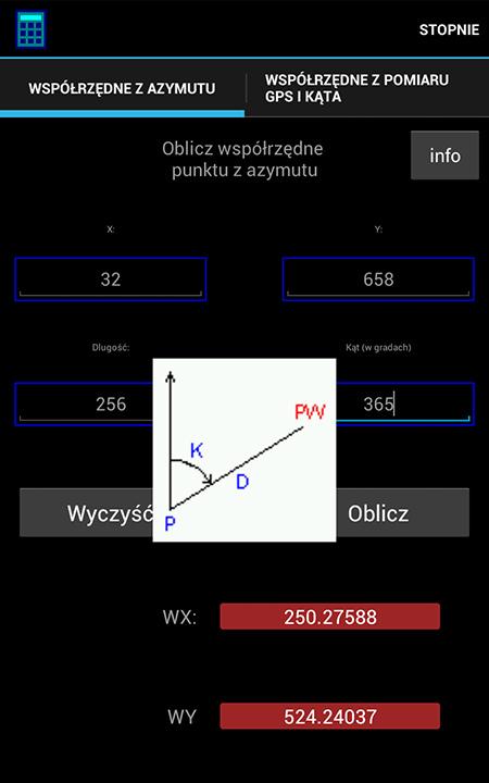 Kalkulator do rozwiązywania zadań geodezyjnych