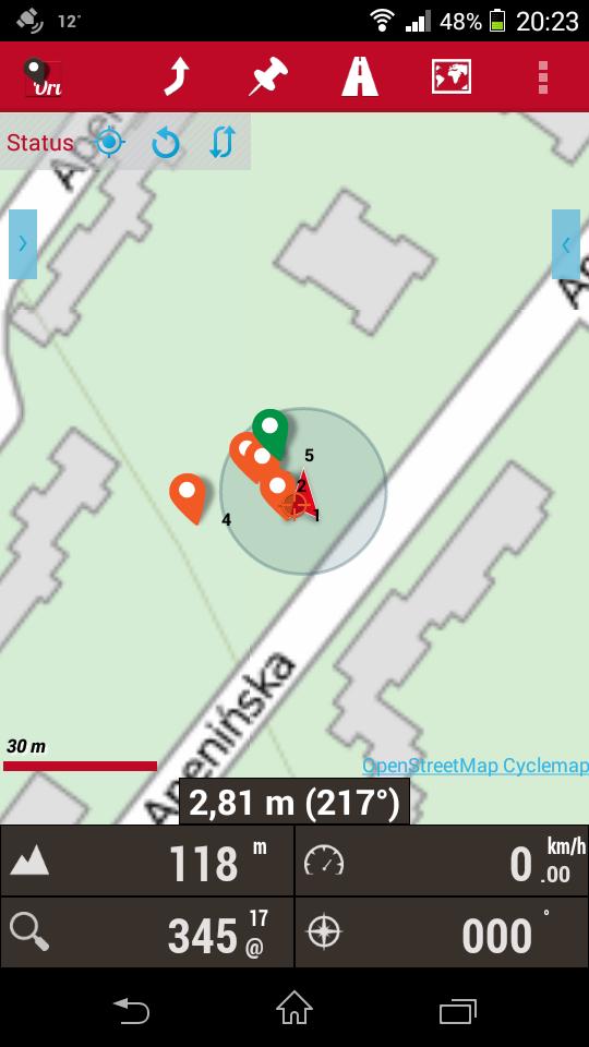 Zrzut z aplikacji OruxMaps, na którym pokazane są wyniki pomiarów tego samego punktów w kilkugodzinnych odstępach czasu