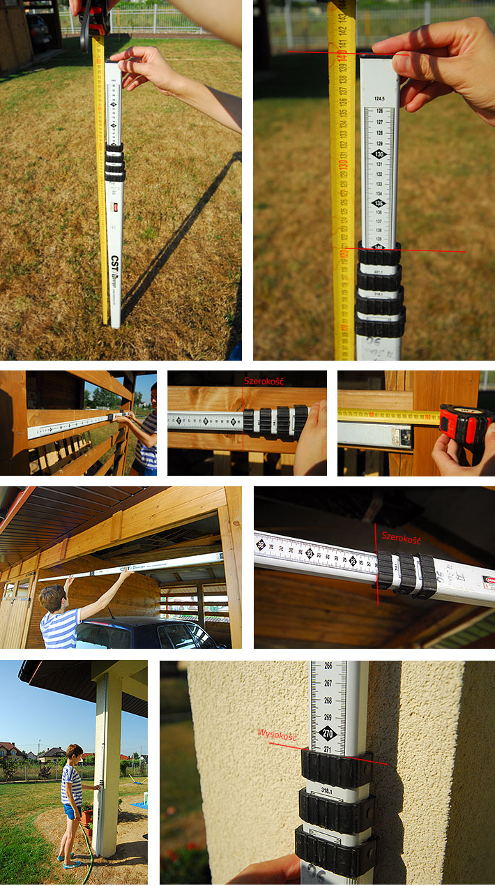 Pomiar wysokości i szerokości łatą aluminiową niwelacyjną