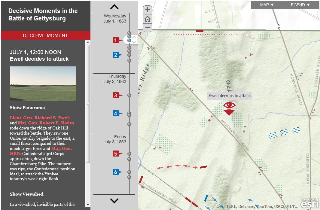 Interaktywna mapa wraz z trójwymiarowymi wizualizacjami analiz widoczności pola bitwy pod Gettysburgiem